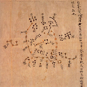 Chinese astronomy - The Dunhuang map from the Tang Dynasty (North Polar region). This map is thought to date from the reign of Emperor Zhongzong of Tang (705–710). Founded in Dunhuang, Gansu. Constellations of the three schools were distinguished with different colors: white, black and yellow for stars of Wu Xian, Gan De and Shi Shen respectively. The whole set of star maps contained 1,300 stars.
