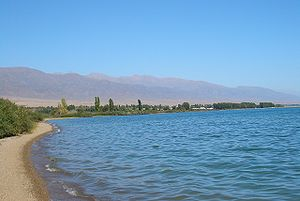 Lake Issyk Kul shoreline at Tamchy, Issyk Kul district