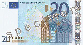 20 euro note - 20 € (2002 issue) obverse side.