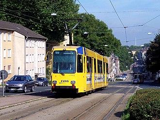 Trams in Essen - An M8C tram at Hobeisenbrücke.