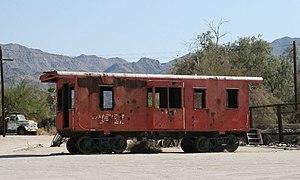 Eagle Mountain Railroad - Old KS 1905 caboose at Desert Center