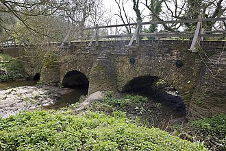 River Wey - On the Wey. Eashing mediaeval double bridge built by monks from Waverley Abbey