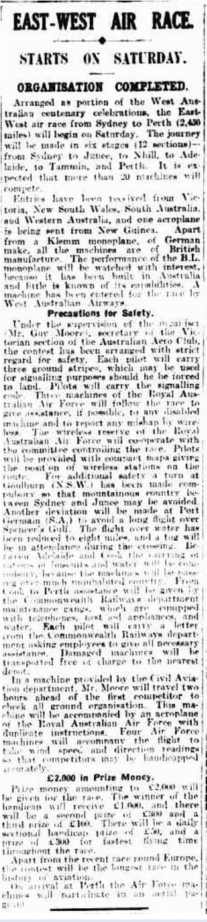 Western Australian Centenary Air Race - Melbourne newspaper article dated 23 September 1929 announcing the race