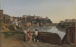 Udsigt over Tiberen i nærheden af den sammenstyrtede bro Ponte Rotto i Rom
