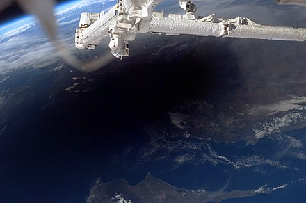 The Moon's shadow over Turkey and Cyprus, seen from the ISS during a 2006 total solar eclipse. Eclipse fromISS 2006-03-29.jpg