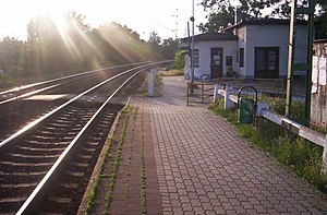 English: The train track at Ecser Magyar: A va...