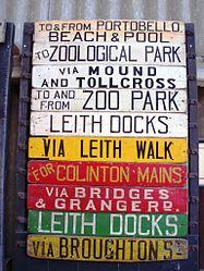 Edinburgh tram boards, Crich tram museum, 15 April 2006.jpg
