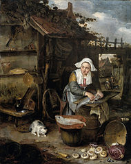 A housewife cleaning fish in a courtyard
