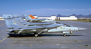 27th Special Operations Wing - 429th ECS General Dynamics EF-111A Ravens being retired at Davis-Monthan AFB Arizona upon arrival at AMARC, 1 April 1988. Serials 67-052 and 66-050 identifiable.
