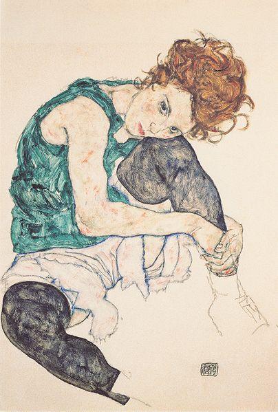 Sitzende Frau mit hochgezogenem Knie 1917