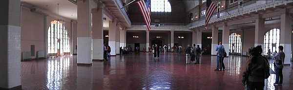 An inside view of Ellis Island, next to New York City