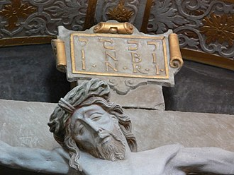 Jesus, King of the Jews - Image: Ellwangen St Vitus Vorhalle Kreuzaltar detail 2
