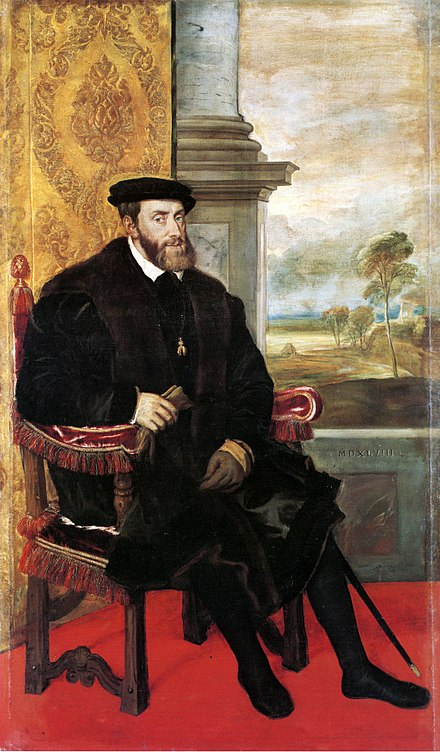 Portrait, 1548, by Lambert Sustris (formerly attributed to Titian) Emperor Charles V seated (Titian).jpg