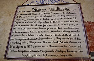 Teotlalpan - Inscription inside of San Nicolás Tolentino monastery, about the curatos (parishes).