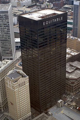 Equitable Building (Atlanta) - View from the north, with Rhodes-Haverty at lower left