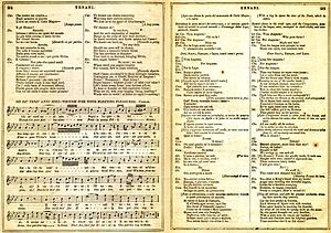 Libretto - Pages from an 1859 libretto for Ernani, with the original Italian lyrics, English translation and musical notation for one of the arias.