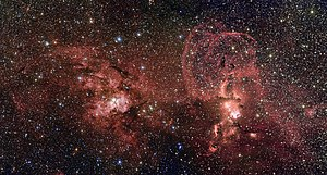 NGC 3603 - NGC 3603 (left) and NGC 3576 are star formation regions in the southern Milky Way.