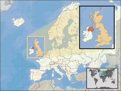 Location of  Northern Ireland  (orange)– in the European continent  (caramel & white)– in the United Kingdom  (caramel)