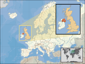 Location of Northern Ireland in the UK and Eur...