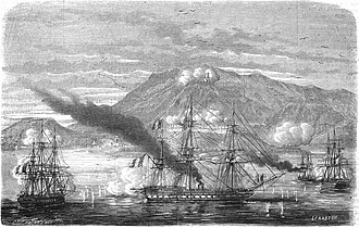 Battle of Acapulco - Entry of the French division in the Bay of Acapulco, January 10, 1863.