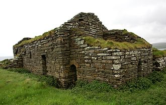 Eynhallow Church - View from northwest. On the right the 12th century western porch.