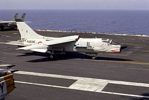 USS Dwight D. Eisenhower - An F-8E(FN) Crusader of the ''Aéronavale'' traps aboard Eisenhower in 1983.