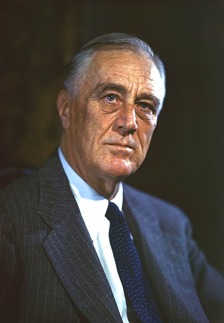 January 20: Franklin D. Roosevelt is sworn in as US President for his second term. FDR 1944 Color Portrait.jpg