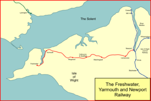 Freshwater, Yarmouth and Newport Railway - System map of the Freshwater, Yarmouth and Newport Railway