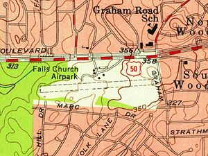 Falls Church Airpark - USGS Topographic Map, 1955