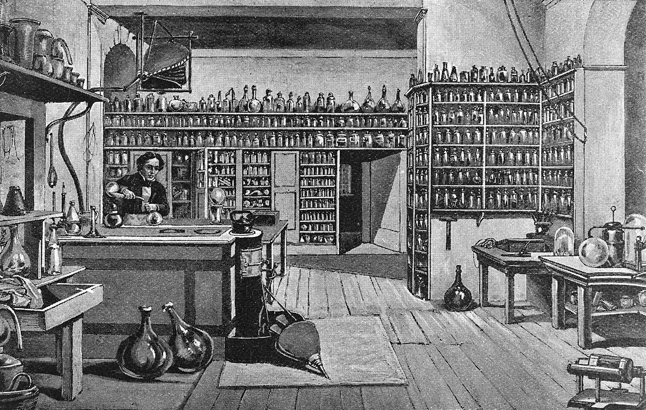 File:Faraday in his laboratory at the Royal Institution ...