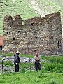 Farmers with Dilapidated Watchtower - Okrokana - Near Kazbegi - Greater Caucasus - Georgia (18418767880) (2).jpg