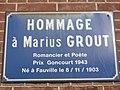 Fauville-en-Caux (Seine-Mar.) plaque Maurice Grout à la mairie.jpg