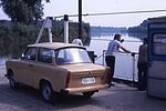 Ferry cross the Tisza, with Trabant. May 1988 (3636054047).jpg