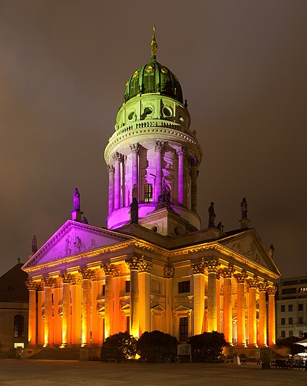 French Cathedral during the annual Festival of Lights Festival of Lights 2012 - Franzosischer Dom.jpg