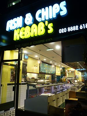 Fish and chip shop - A fish and chips shop in London. Such shops often sell other forms of fast food such as Kebabs.