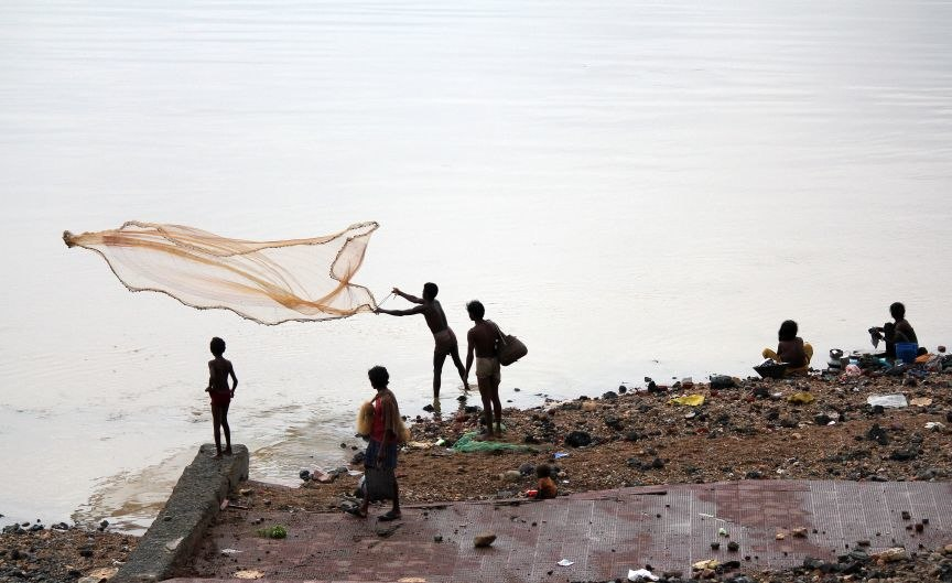 Fishing at Subarnarekha river near Domohani (River meets)