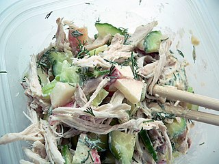 Chicken salad Salad made with chicken