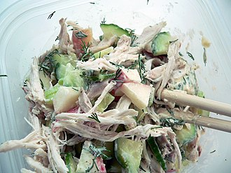 Chicken salad - A chicken salad made with celery, cucumber, apples, fresh dill, and mayonnaise with salt and pepper
