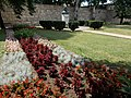 Flower bed. Bust of King St. Ladislaus. City Wall Section at Várkörút. Eastern Wall. Listed 3911. - Prohászka Grove, Várkörút, Downtown, Székesfehérvár, Fejér county, Hungary.JPG