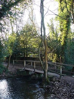 Shere - Footbridge by streamside village centre footpath