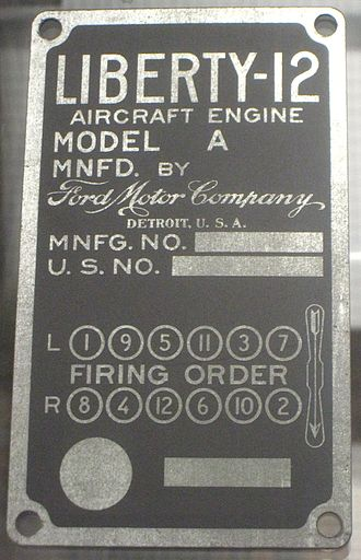 Liberty L-12 - Ford Liberty 12 data plate with firing order