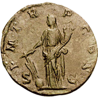 Fortuna Redux - Depiction of Fortuna Redux on a 2nd-century coin. She holds a cornucopia and a rudder affixed to the globe