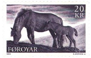 Faroe Islands domestic animals - Faroe ponies on a stamp