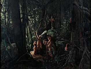 Amazonian Indians Worshiping the Sun God