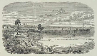 Frankston, Victoria - Frankston Beach in 1873, with the pier and village in the background.