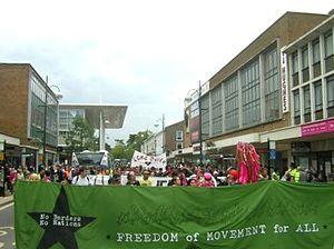 Chiara Lauvergnac - A No Borders demonstration at Crawley, 2007.