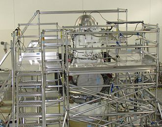 Wide-field Infrared Survey Explorer - A scaffolding structure built around WISE allows engineers access while its hydrogen coolant is being frozen