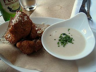 Peasant foods - Fried cauliflower with agliata sauce (right)