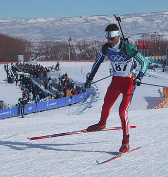 Biathlon at the 2002 Winter Olympics - Frode Andresen competing at Soldier Hollow at the 2002 Winter Olympics.