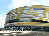 Frontage of Derby Velodrome at Pride Park, Derby, England.JPG